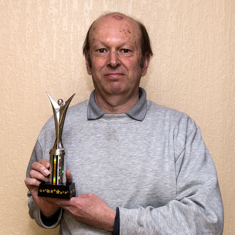 David P Howard with Treasure Hunt trophy